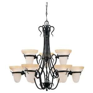 Sea Gull Lighting 3212 185 Nine Light Saranac Lake Chandelier, Forged