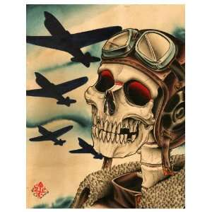 Pilot by 2 Cents Airforce Vintage Tattoo Design Fine Art Paper Print