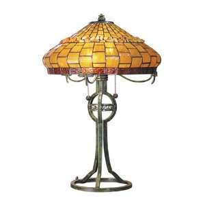 Dale Tiffany TT101012 Grundy Table Lamp, Antique Bronze and Art Glass