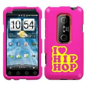 HTC EVO 3D YELLOW I LOVE HIP HOP ON A PINK HARD CASE COVER