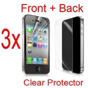 3x Clear Front + Back LCD Screen Protector film cover