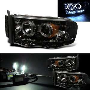Kit+ 02 05 Dodge Ram Halo LED Smoke Projector Head Lights Automotive