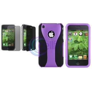 Black/Purple Cup Shape Snap On Case+LCD Privacy Filter For Apple