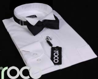 BOYS WHITE WING COLLAR SUIT SHIRT & BOW TIE SET 2 15yrs