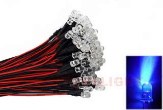 20pcs 5mm Blue LED Lamp Light Set 25cm Pre Wired 12V DC