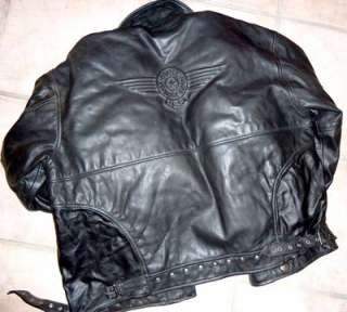 BLACK LEATHER HARLEY DAVIDSON JACKET AND MATCHING CHAPS, LARGE