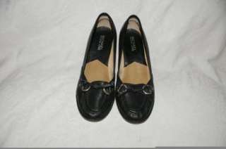 Michael Kors Black Leather Loafer Heels Womens Shoes 6.5 M