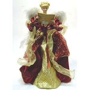 Lighted Musical Christmas Angel Tree Topper Maroon and Gold 18