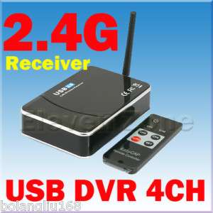 USB2.0 WIRELESS 4 Ch Camera DVR Receiver Motion Detect