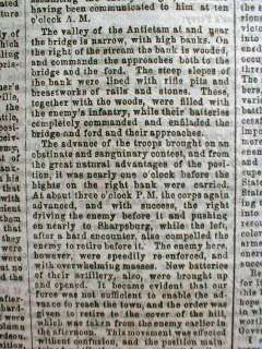 1863 BATTLE of ANTIETAM Civil War newspaper Cincinnati Gazette BEST