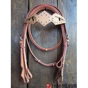 Western Leather Tack Horse Bridle Headstall & Reins