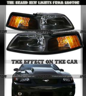 99 04 FORD MUSTANG COBRA BLACK CRYSTAL HEADLIGHTS LAMPS