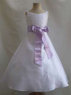NEW WHITE LILAC Wedding Recital Party Flower girl dress