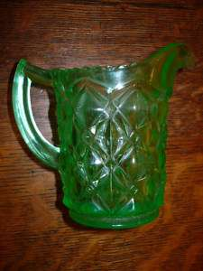 VINTAGE GREEN DEPRESSION GLASS CREAMER PITCHER VASELINE