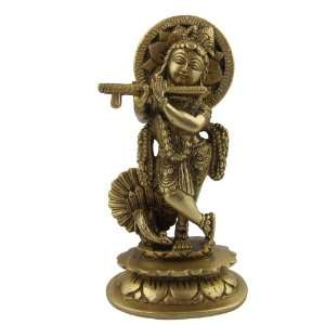 Brass Figurines of Hindu God Krishan Playing Flute