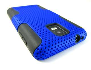 BLUE PERFORATED RUBBERIZED HARD SOFT CASE COVER SAMSUNG INFUSE 4G