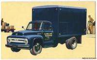 1953 FORD TRUCK FREIGHT VAN Original Factory Issue Ad Postcard