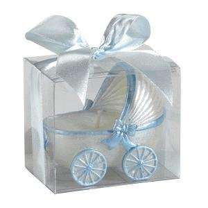 Baby Carriage Candle in box with trim   Blue