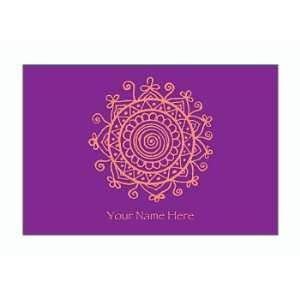 Personalized Stationery Note Cards with Medallion   Grape