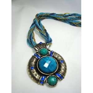 Blue Stone with Blue Crystals Tibetan Tribal Necklace