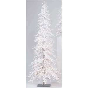 Lit White Flocked Frosted Alpine Christmas Tree