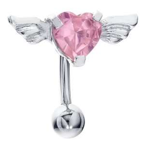 Top Down Pink CZ Angel Wing Heart Belly Button Navel Ring