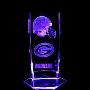 Green Bay Packers 3D Laser Etched Crystal includes Two Separate LEDs