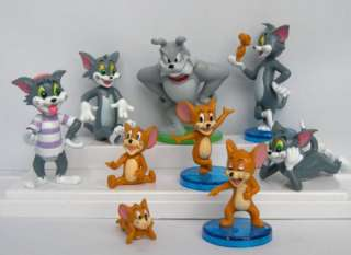TOM AND JERRY FUNNY CARTOON Cake Topper Figures Lot of 9pc Toy Gift