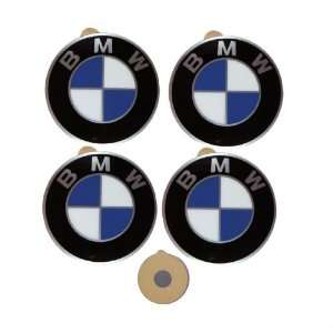4 BMW Genuine Wheel Center Cap Emblems Decals Stickers 64