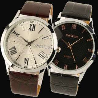 New* 2 Color Classic Mens *Roman Numerals* Dial Leather Band Quartz