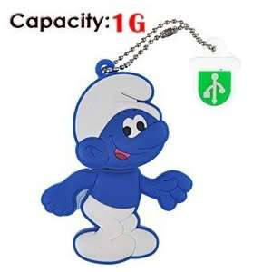 1G Rubber USB Flash Drive with Shape of Blue Smurfs Electronics