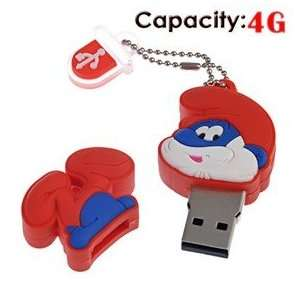 4G Rubber USB Flash Drive with Shape of Smurfs (Red) Electronics