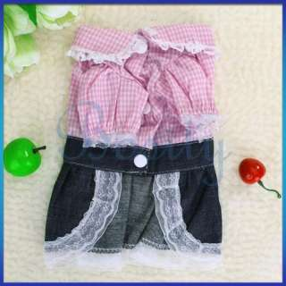 Pet Dog Suspender Dress Skirt Denim Apparel Clothes M