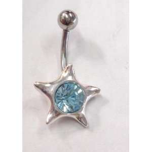 Baby Blue Gem Star Belly Ring
