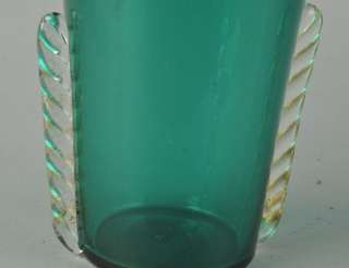 ART DECO BLUE GREEN BLOWN GLASS VASE APPLIED CLEAR SWIRLED DECORATION