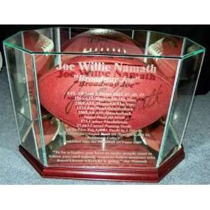 Joe Namath Autographed NY Jets Football &Display Case