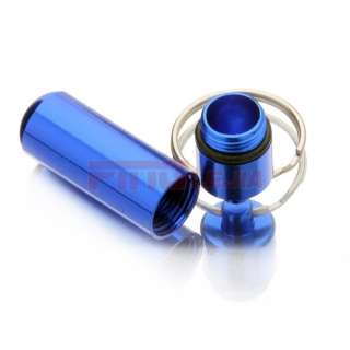 Waterproof Aluminum Pill Box Case Bottle Cache Drug Holder Keychain