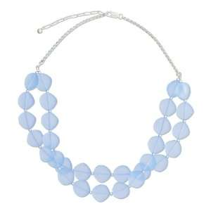 to 18 inch Adjustable Periwinkle Blue Frosted Glass Necklace. Jewelry