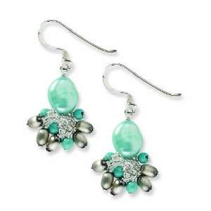 Silver Blue Recon and Light Blue Cultured Freshwater Pearl Earrings