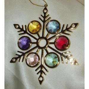 Large Multicolor Swarovski Crystal & 24K Gold Plated 3.5