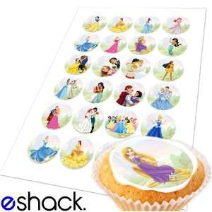 com 24x Disney Princess Edible Cake Toppers (Birthday Cupcake Topper