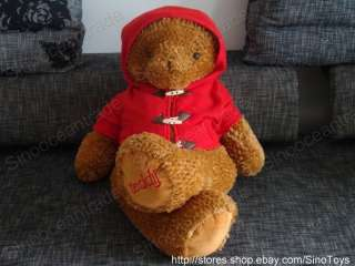 BROWN TEDDY BEAR IN RED DUST COAT SOFT LARGE PLUSH 43