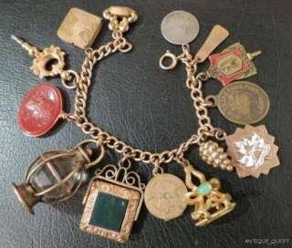 ANTIQUE VICTORIAN ETRUSCAN ART NOUVEAU GOLD GF CHARM BRACELET LOCKETS