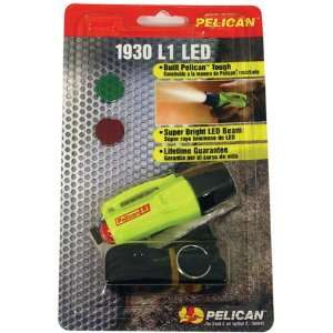 Attached Mini LED Flashlight Pelican L1 LED Light w/Lanyard, Yellow