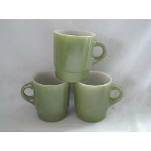 Set of 3   Vintage Anchor Hocking Fire King  Avocado Green