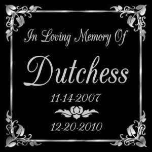 Personalized Black Granite Pet Memorial Marker Style Dutchess Pet
