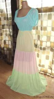 Vintage 60s 70s Pastel RAINBOW Tiered FULL Sweep MAXI Nightgown Nylon