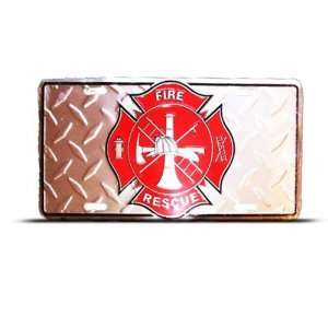 American Firefighter Fire Rescue Metal Novelty License Plate Wall Sign