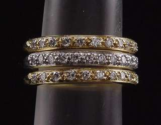 Stunning Estate Trio Doris Panos 18K Yellow & White Gold Diamond