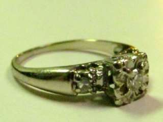 VINTAGE ANTIQUE SOLID 14 WHITE GOLD DIAMOND RING